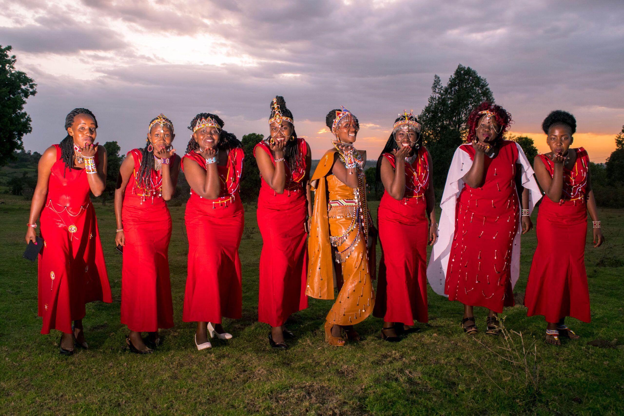 Bridesmaids Pose At A Maasai Wedding