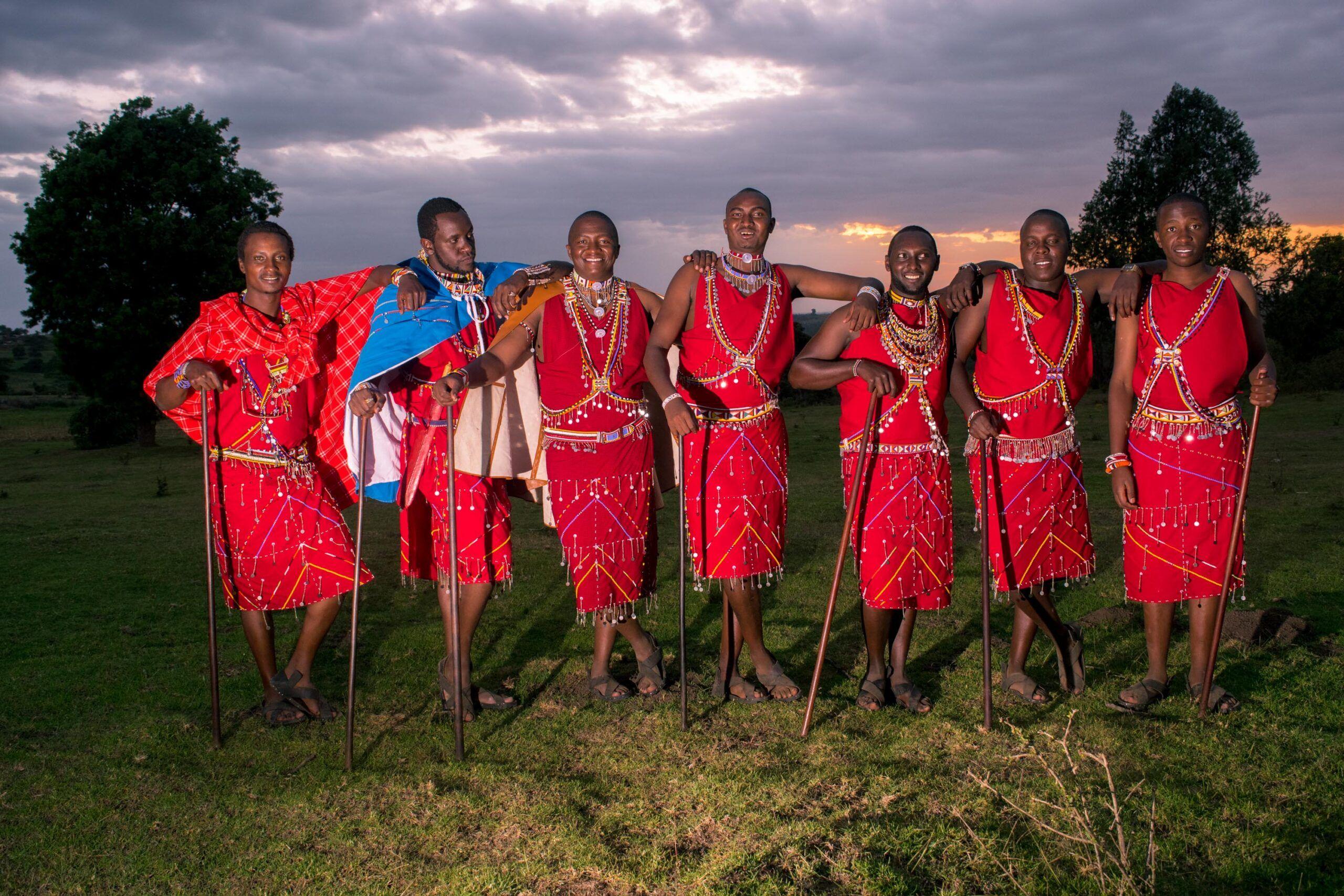 Groomsmen Pose At A Maasai Wedding