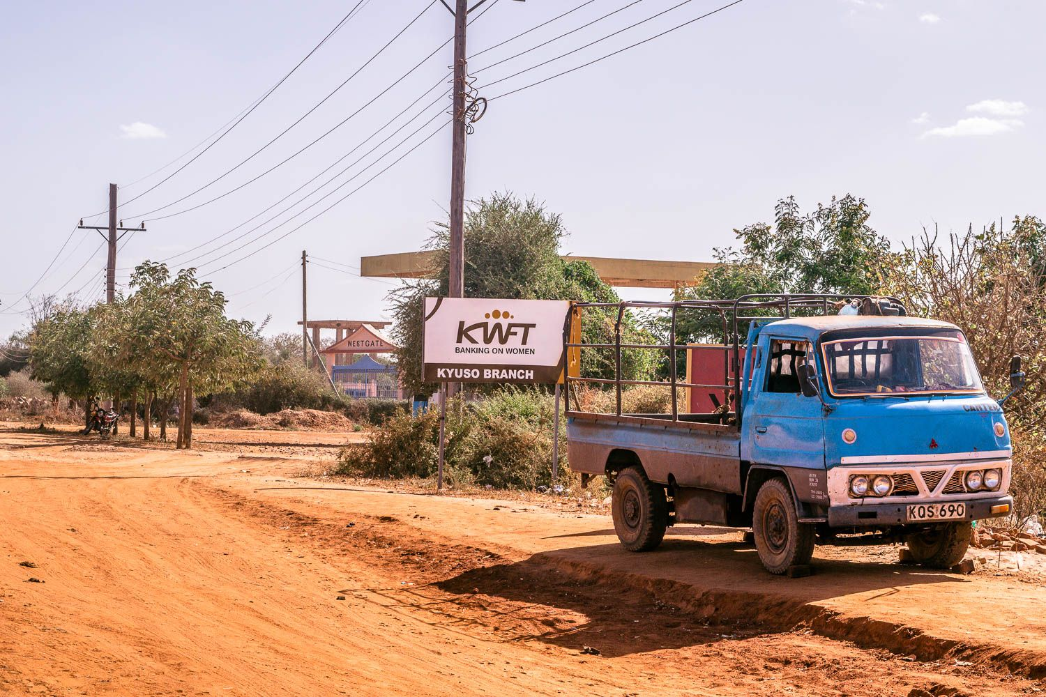 A Lorry Parks Near A Kwft Sign In Kyuso, A Town In Kitui